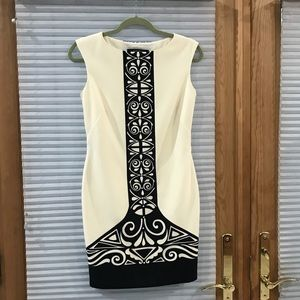 Nine West white dress with bold center print 2P